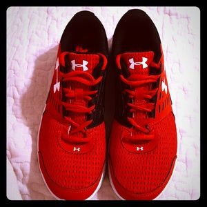Under Armour red & black sneakers 7Y